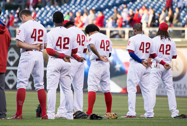 Apr+15%2C+2016%3B+Philadelphia%2C+PA%2C+USA%3B+The+Philadelphia+Phillies+wearing+number+42+on+Jackie+Robinson+day+stand+for+the+national+anthem+before+the+start+of+the+game+against+the+Washington+Nationals+at+Citizens+Bank+Park.+Mandatory+Credit%3A+Bill+Streicher-USA+TODAY+Sports