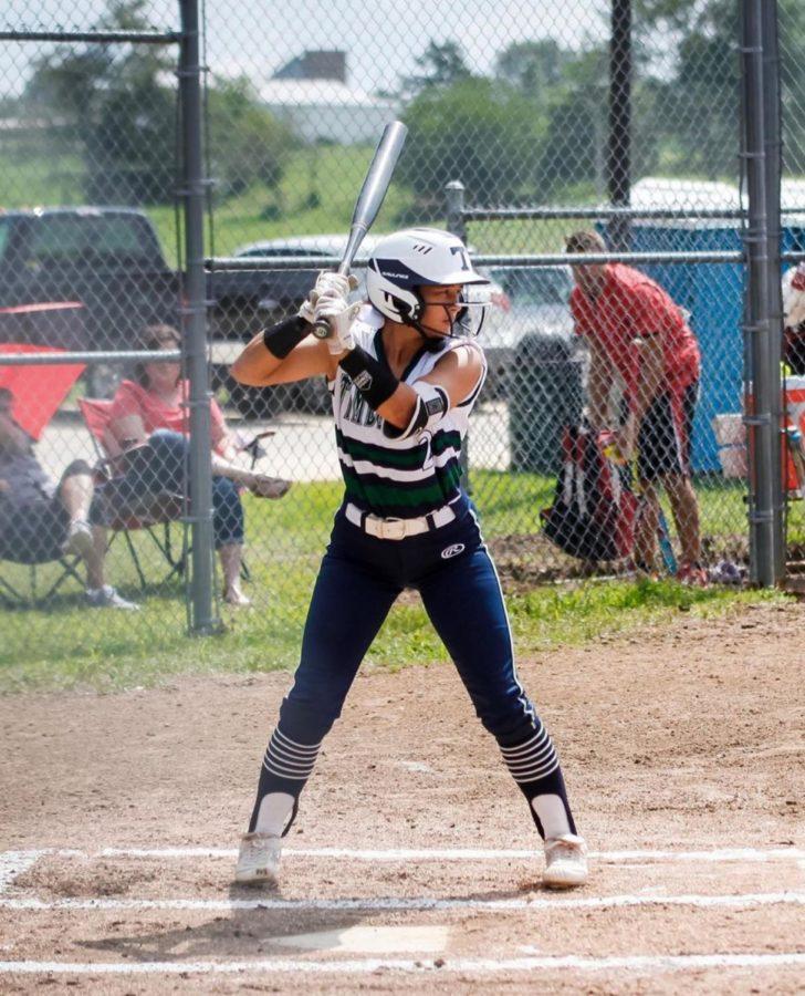 Madison Sweeney is batting at Troy Buchanan High School