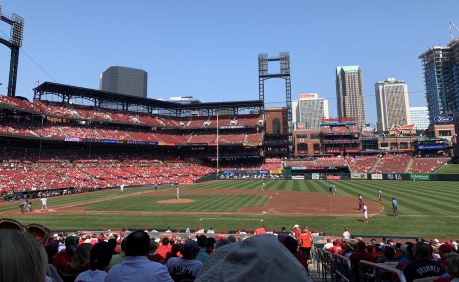 A+view+of+the+interior+of+Busch+Stadium.+