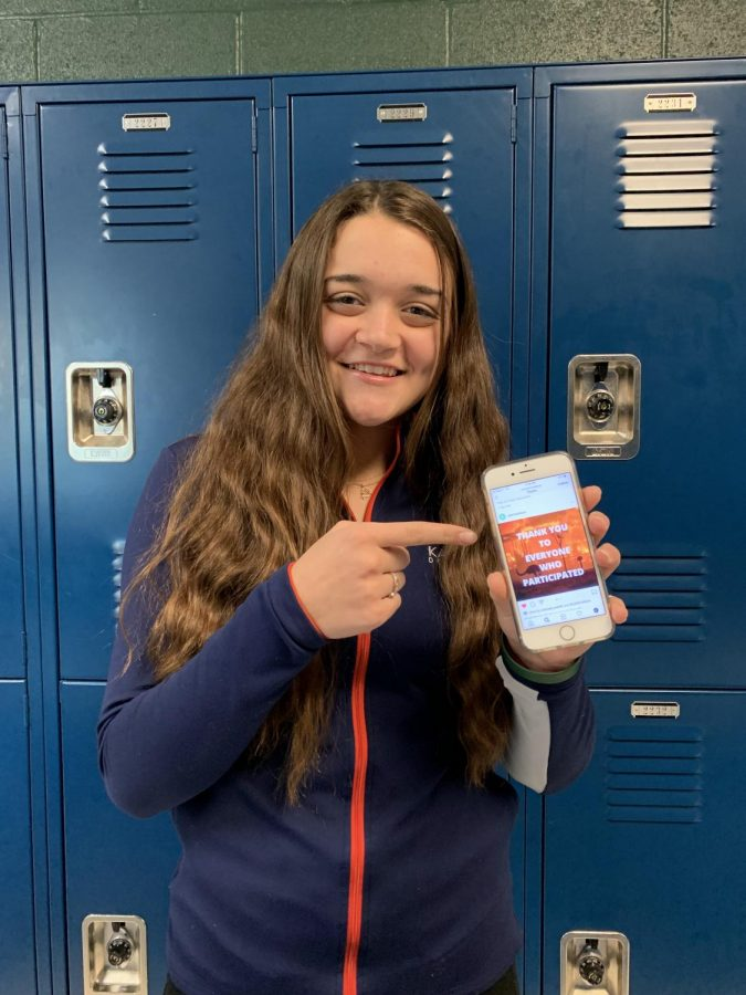 Sophomore Hannah Kohler shows how she and other THS students can help raise awareness of the Australian Wildfires by something as simple as sharing an Instagram post